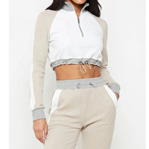 Cotton Women's tracksuits long-sleeve stitching tracksuit