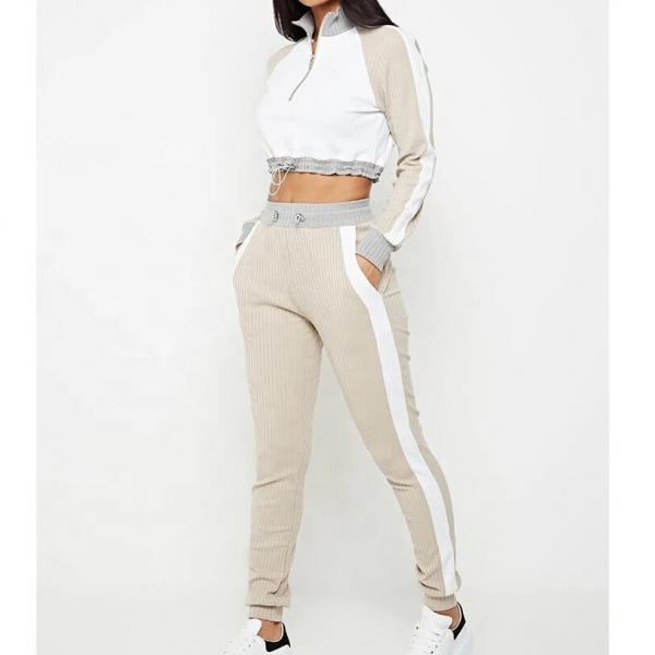 Cotton Women's tracksuits long-sleeve stitching tracksuit 5
